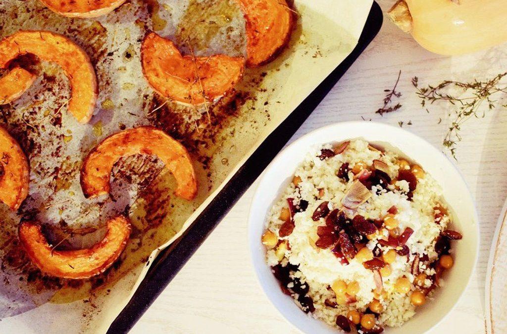 Bloemkool couscous met pompoen, rozijnen en tijm