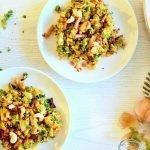 Zoete aardappel stamppot met vegetarische spekjes