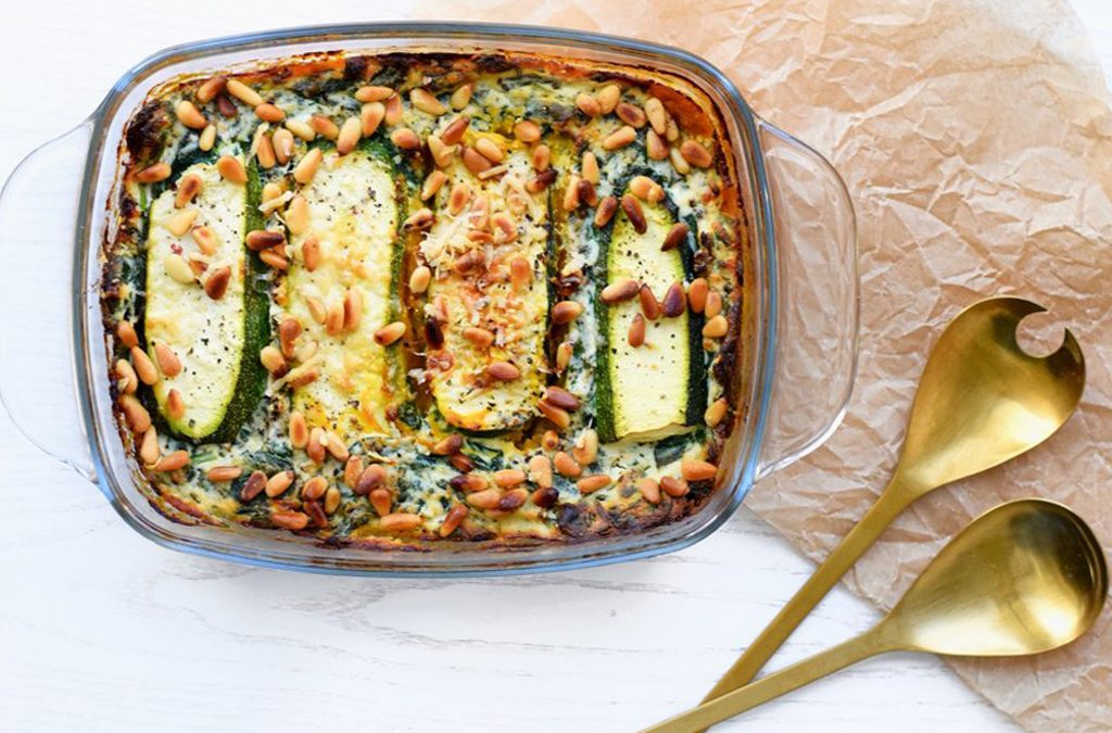 Courgette lasagne met pompoenpuree | Vegetarische lasagne