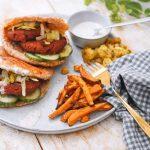 Geroosterde pitabroodjes met vegetarische hamburgertjes | Makkelijke maaltijd